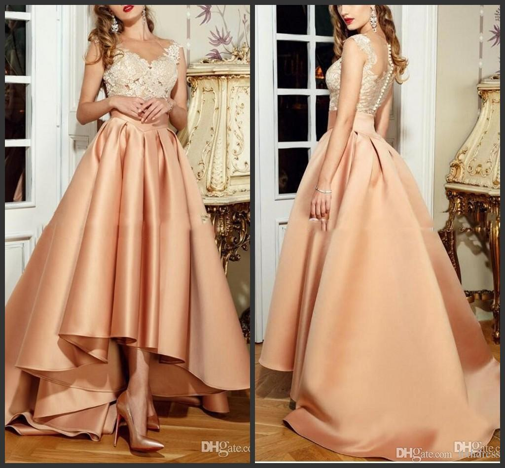 2020 New Vestido De Festa Hi Lo Arabic Prom Dress Long Formal Party Gowns Sexy Peach Evening Dresses Lebanon Lace High Low Evening Dress