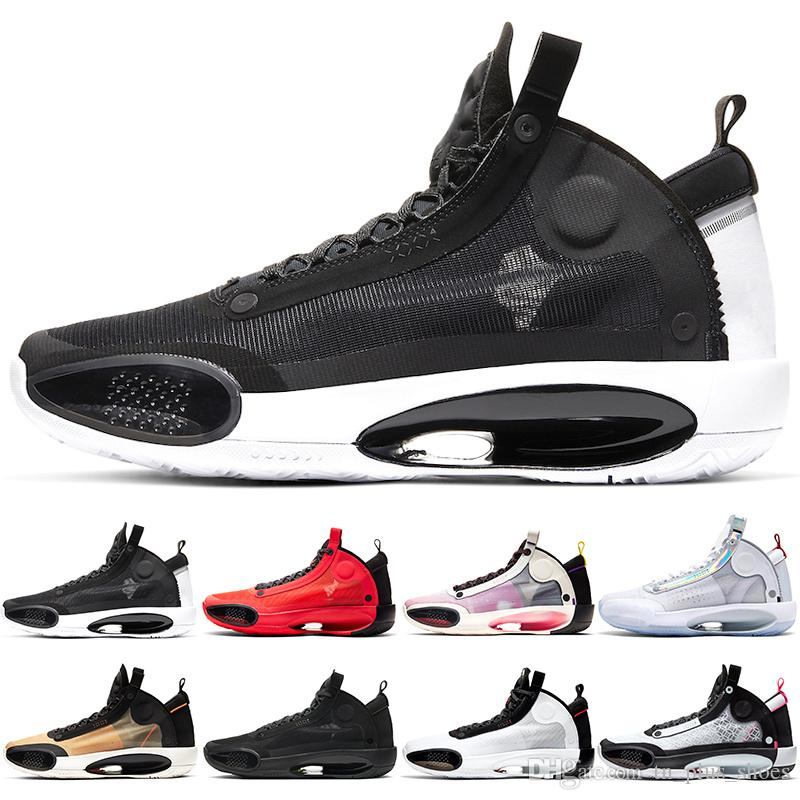Nike air jordan retro Jumpman 34 XXXIV Männer Basketballschuhe Mens Trainers Black Cat Bred Eclipse-Infrarot-23 White Iridescent Designer-Sport-Turnschuh-freies Verschiffen