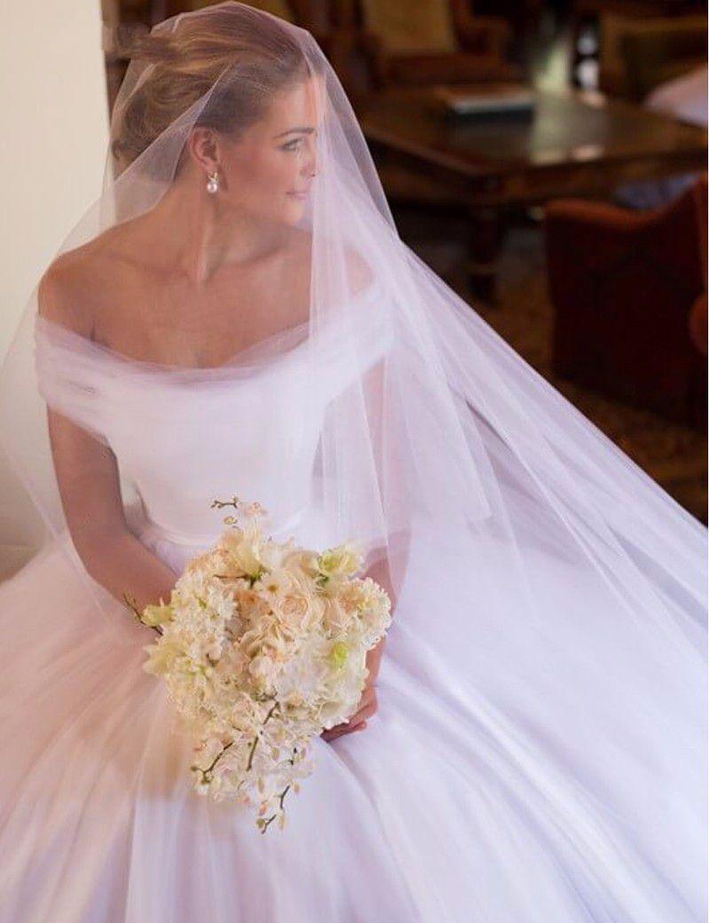 Affascinante al largo della spalla una linea Tulle bianco abiti da sposa semplice grazia abiti da sposa Novia abiti da sposa lunghi 2019 Recentemente