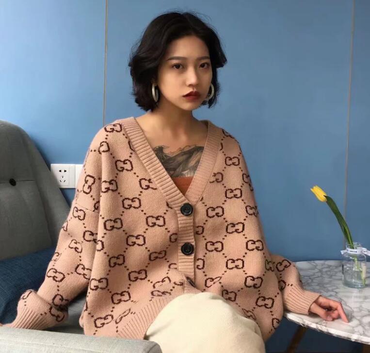 2020 European personalizzato Edizione Autunno nuovo stile coreano Jacquard Double G Lettera cardigan disegno allentato del cappotto del maglione 3 colori di trasporto