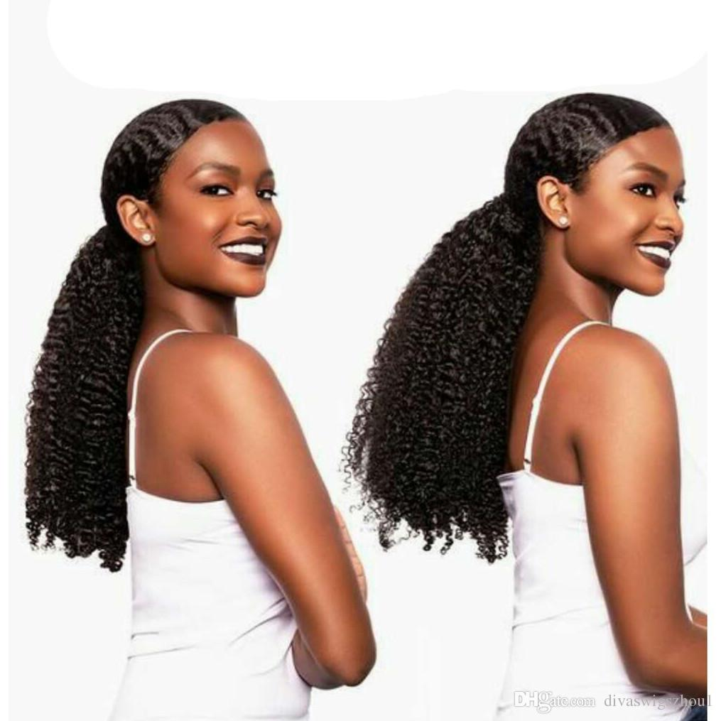 Mongolian Kinky Curly Clip Ins Ponytail Hair Extension Para Mujeres Natural Negro Clip Rizado en Extensiones de Cabello Humano Divas Hair Extension 140g
