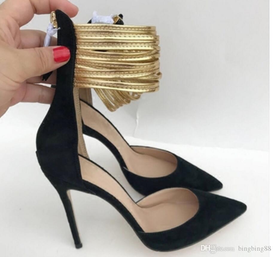 Banda de Tornozelo dourado Sandálias Oco Mulheres de fundo Vermelho Sapatos de Salto Alto 10cm tamanho grande 44 Cúspide Salto Fino Único sapatos Vestido de boate Casamento