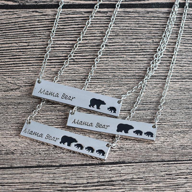 Articoli da regalo JRL Oro Argento placcato Bar collana polare Mamma Orsa collana per regalo di giorno di compleanno della Memoria K6094 della mamma Nomi Madre