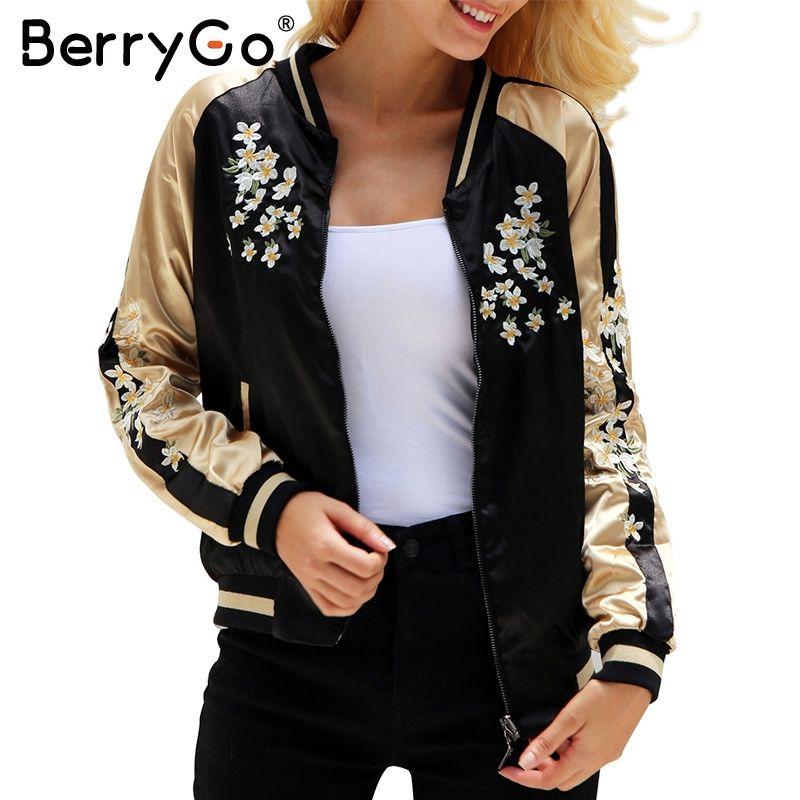 Forma-Atacado BerryGo florais cetim bordado jaqueta casaco de Outono de rua jaqueta de inverno casacos de beisebol Casual sukajan reversível