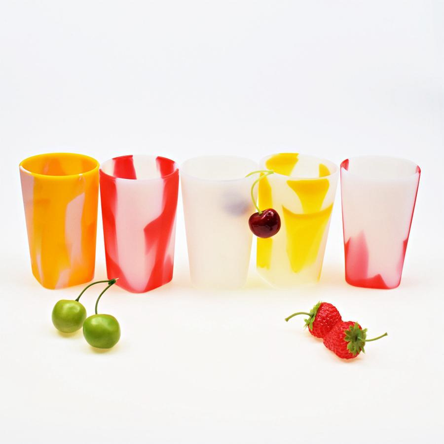 Óculos Vinho Silicone 400ML colorido do arco-íris Outdoor Sports portátil Garrafa Viagem Gradiente água canecas Copos OOA7527-3
