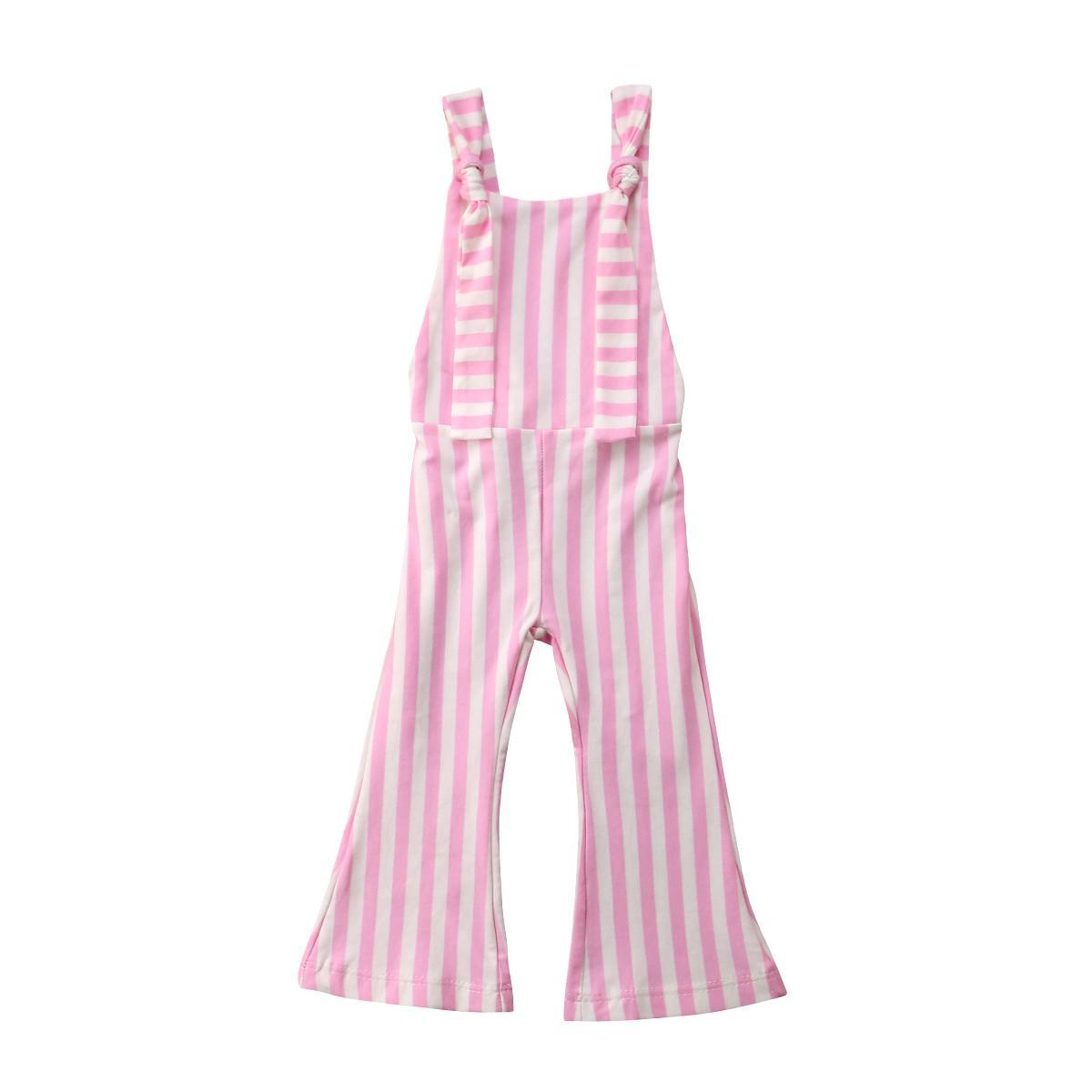 6M-5years Kid Kız Bebek Çizgili Bell Dipli Pantolon Kolsuz Bebek tulumları Geri Çapraz Jumpsuit