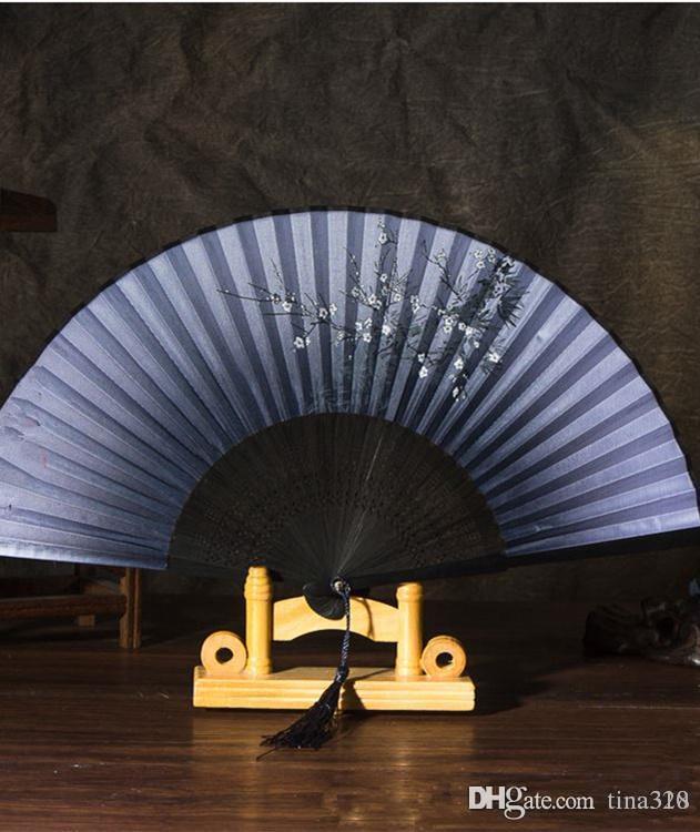 The explosion of silk lady folding fan Sakura plum bamboo fan and wind Japanese fan T4H0232