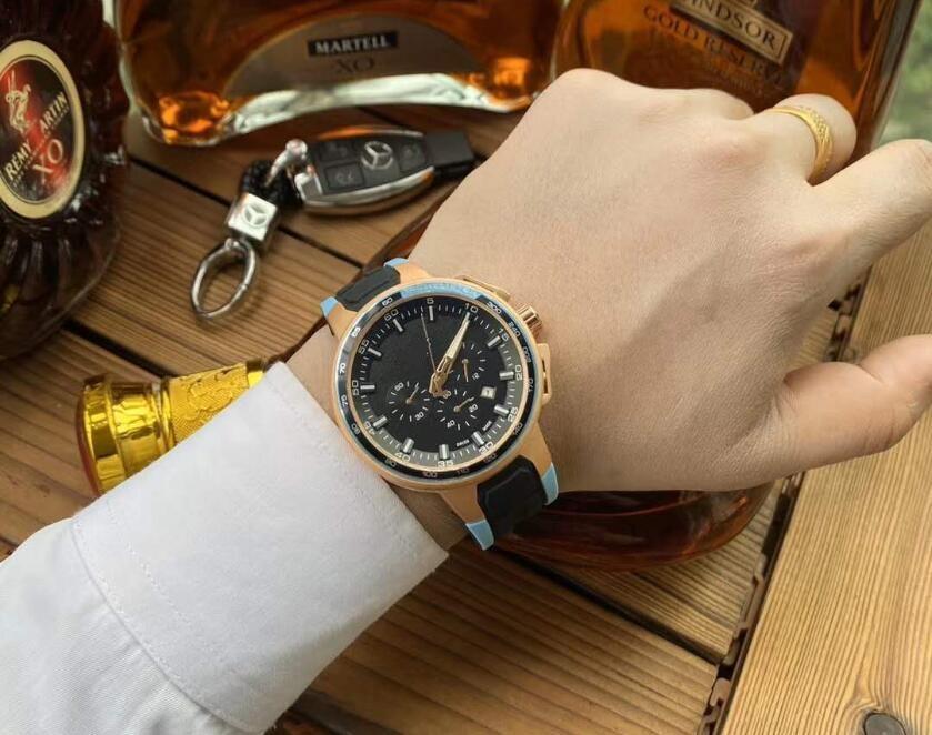 Famous Mens Full Functional Luxury Wristwatches Black Silicone Strap Fashion Designer Watches Sport Quartz Analog Clock Relogio Masculino