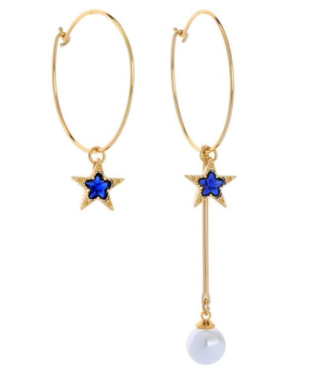 Imitation Crystal Five - Pointed Star Tidal Current Earrings Long Eardrop hoop Asymmetric Earrings 2019 Fashion Accessories free shipping