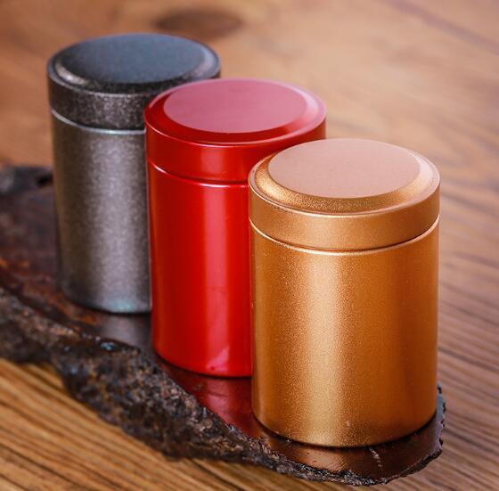 DHL Tin Round Pot Thé Emballage Tube Bouteille Métal thé stockage 4.5 * 6.5cm thé café fruits secs biscuits Jar Mini portable Organisateur nd
