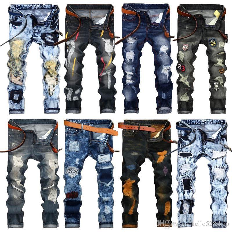 Para hombre de la moda del jeans rasgados pantalones Slim Fit apenado de Hip Hop del dril de frío hombre de la novedad de Calle Jean Pantalones de la venta caliente