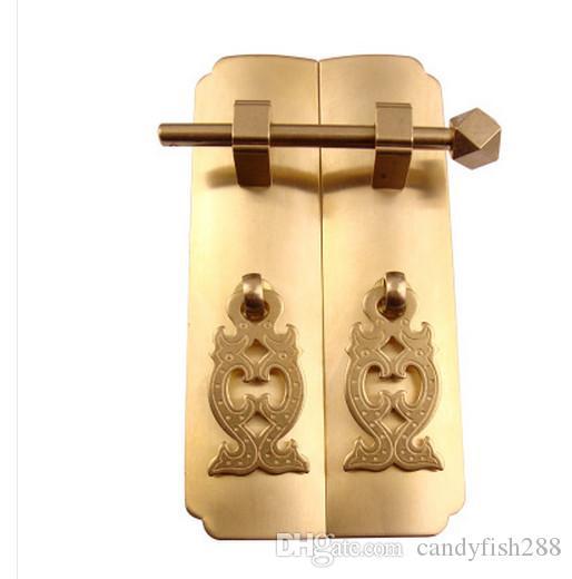Tg076 düz düz çubuk kolu Çinli antika Ming ve Qing mobilya saf bakır aksesuarları dolap kapı plakası bakır kolu