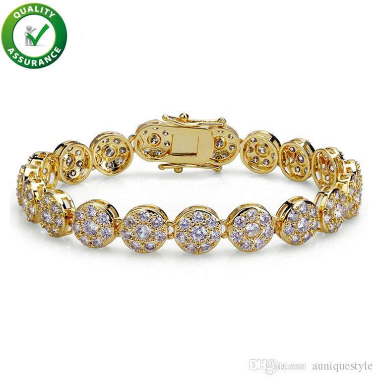 Hip Hop Designer Jewelry Mens Gold Bracelets Luxury Bangles Iced Out Diamond Tennis Bracelet Pandora Style for Love Rock Link Chain