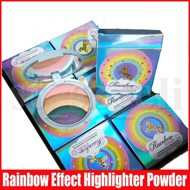 New Face Makeup Rainbow Strobe Highlighter Compact Rainbow Multi color Bronzer make up Highlighters Bronzers Palette powder