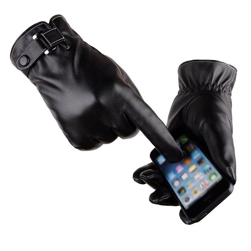 Fashion- PU Leather Touchscreen Gloves Warm Soft Thick Fleece Lining Windproof Water-resistant Biking Outdoor Gloves Black Brown