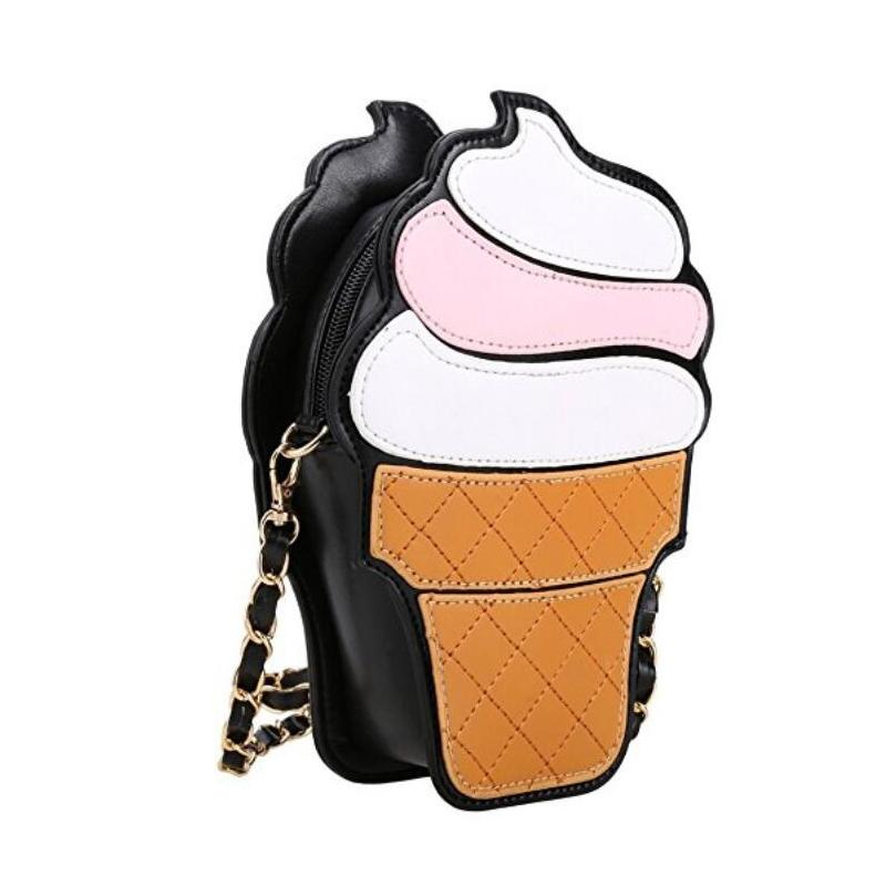 2020 Ice Cream Bag Fashion 2D Funny Ice Cream Cupcake Handbag Messenger Zipper Bag Purse Crossbody Splicing Messenger Body Key Bag Best Sell