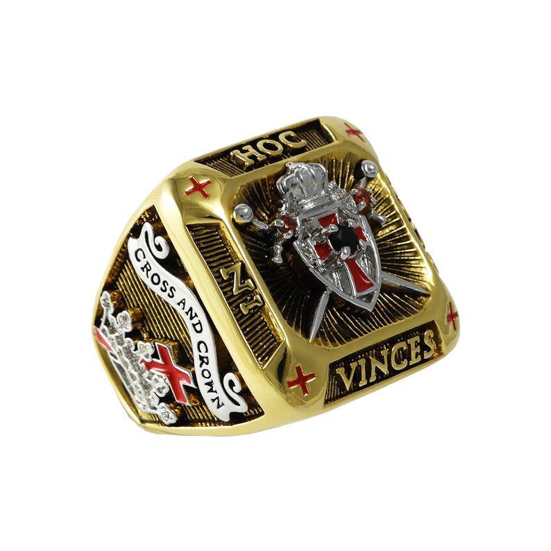 Новый дизайн Прибытие масонские тамплиеры кольца чемпионов кольцо стиль для каменщика масоном ювелирных изделий коллекции груза падения
