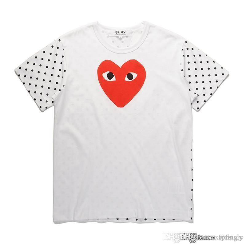 2018 COM Meilleure Qualité jouer Unisexe CDG Casual Coton Coeur Homme Plus Japon Rouge Coeur de base Blanc tee court T-shirts à manches