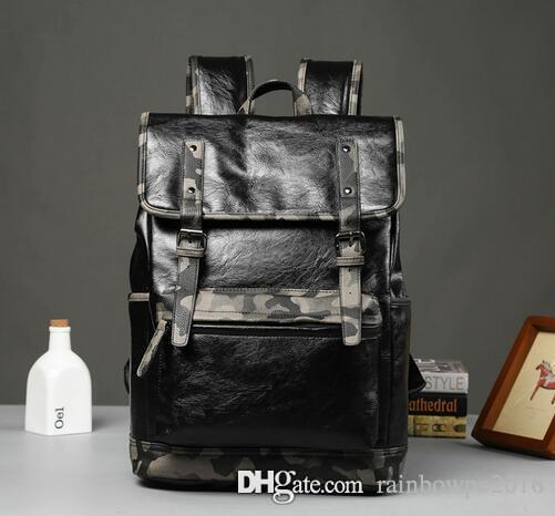 sales mens bags fashion camouflage leather backpack backpack outdoor leisure travel The wind camouflage college students school bag
