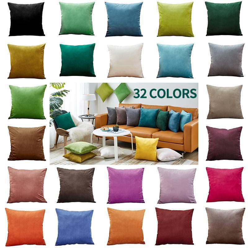 Cor sólida Capa sofá fronha Almofada Quadrada Home Decor Macio Vermelho Tamanho 18x18