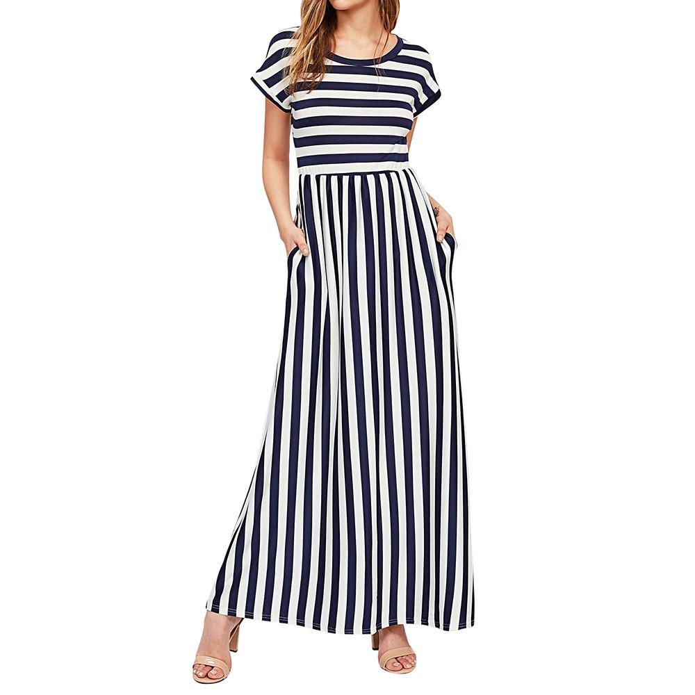 Nuevo Vestido de verano de manga corta de poliéster con cintura elástica de rayas con bolsillos en negro gris azul marino rosado rojo