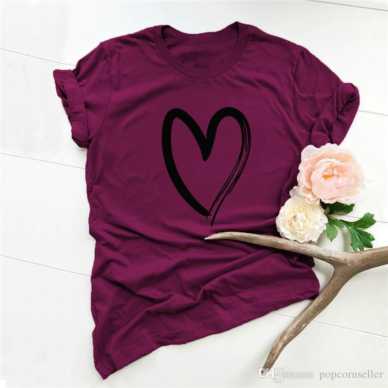 Tişört Hızlı Kuru T-shirt Casual Womens Running Yaz basit ve konforlu Pamuk Aşk Kısa Kollu Kadın Tops