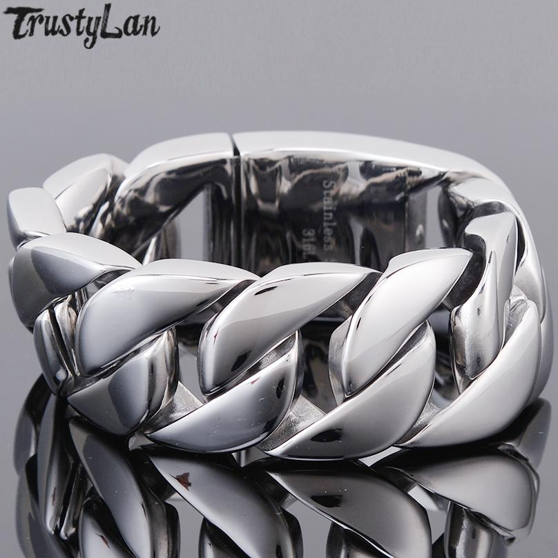 Aço inoxidável polido pulseira Homens Bangle 31MM Cadeia Grande Grosso Mens Pulseiras Homem 2018 Presentes da jóia luxo mão para o marido SH190925