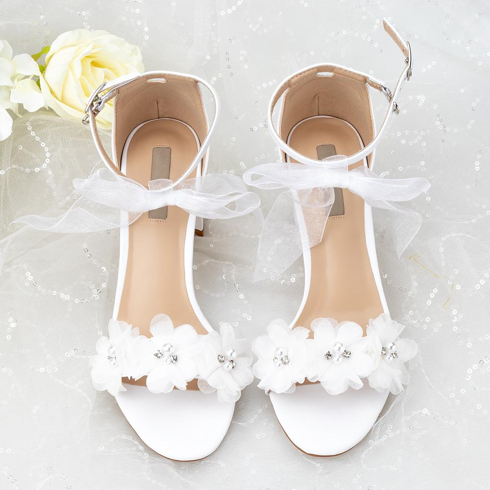 Wedding Sandals White Lace Flowers Pearl Rhinestone Bow Ribbon Sweety Princess Style Lower Square Short Fat Heels Big Size Y200620