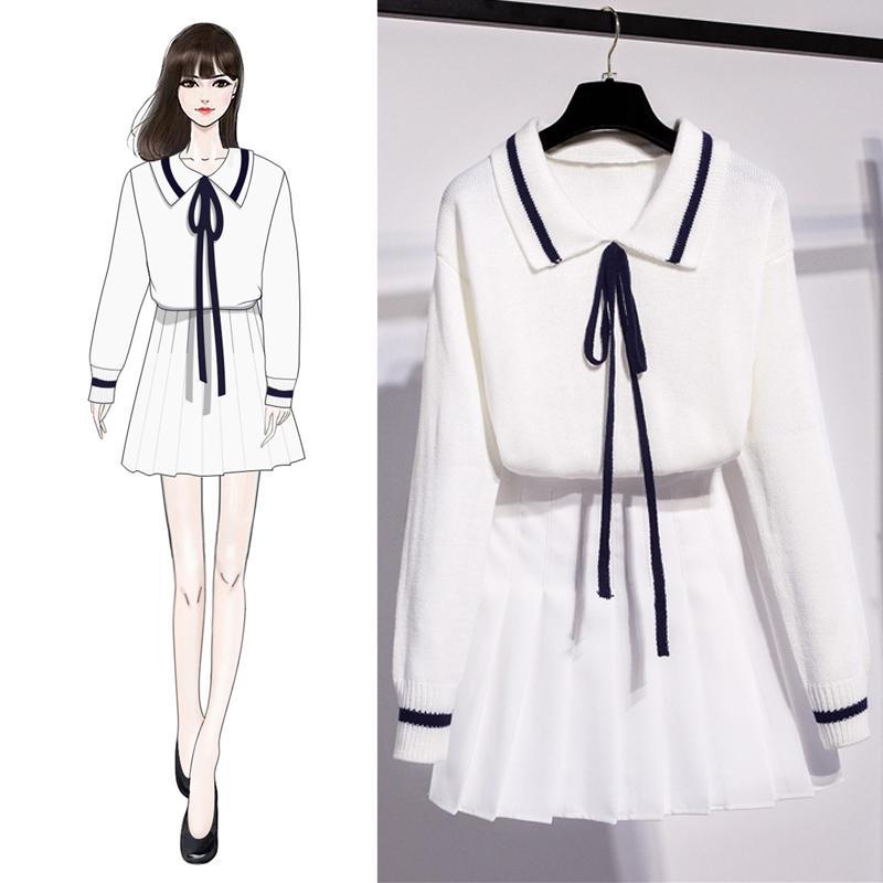 Весна корейская студенческая мода повседневная из двух частей: сладкий и прекрасный японский вязаный свитер + плиссированная юбка в стиле колледжа