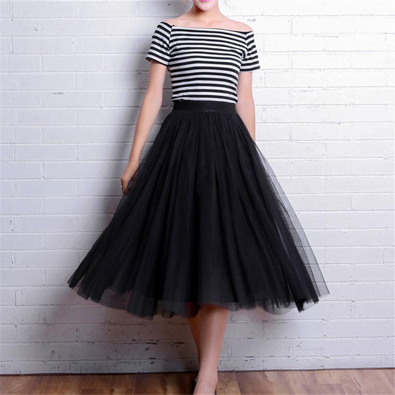 Élastique 2019 taille haute Tulle maille Jupe mi-longue d'été Femmes Vintage longue Une ligne plissés Tutu Femme Longue S1631 Jupe