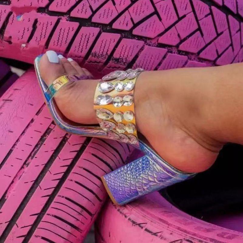 Mulheres Moda Slides sandálias Aberto à frente mulas Shoes Deslizamento em strass cristal Bombas Wedding Party Dress Slides salto alto