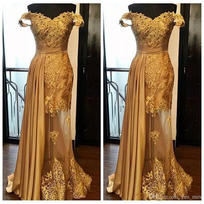 2020 Middle East Dubai Gold Prom Dresses Off Shoulder Lace Appliques Beads Mermaid Tulle Peplum Illusion Evening Dress Wear Party Gowns