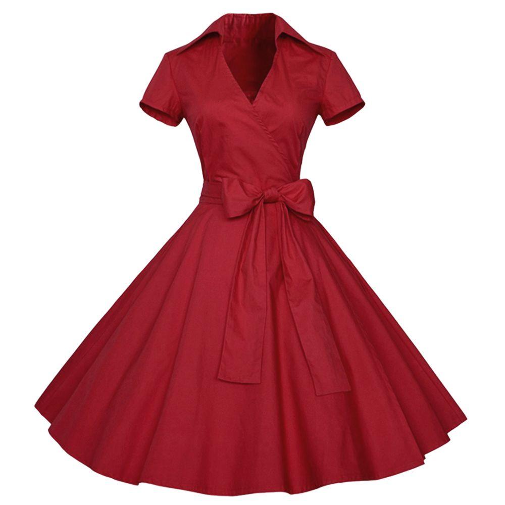 Wipalo 100% хлопок плюс размер 4xl женщины винтаж 1960-х годов рокабилли качели ретро партии Vestidos твердые офисное платье халат Q190429