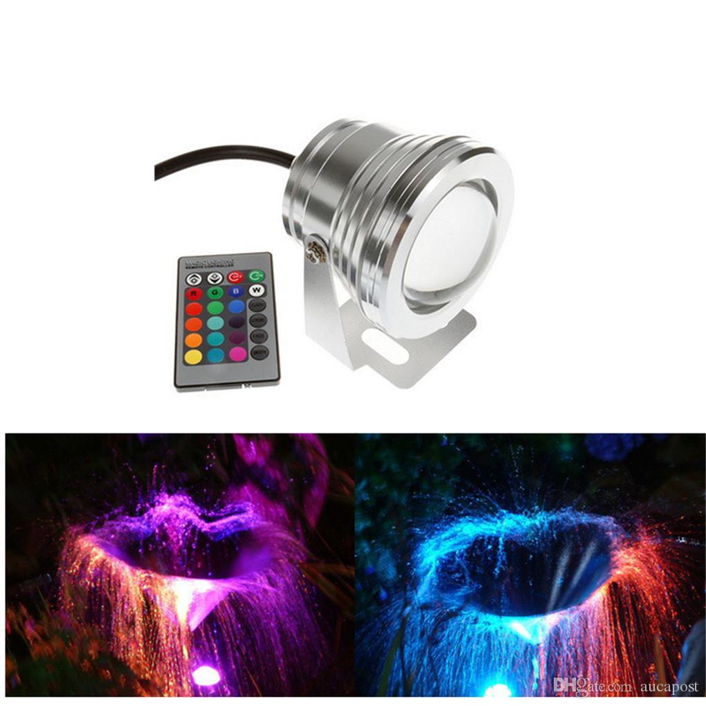 AUCD 미니 DC 12 볼트 수중 RGB LED 10 와트 조명 IR 원격 IP68 방수 분수 풀 램프 풍경 연못 조명 LED-WL