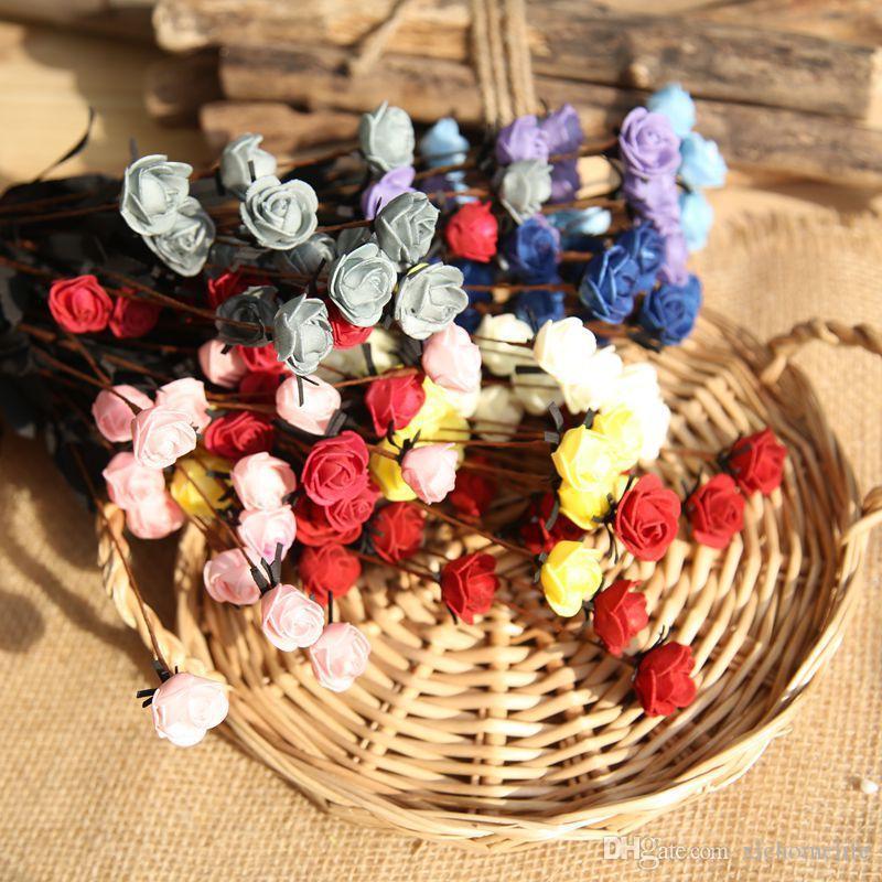 2019 estilo pastoral 15 Jefes / ramo de rosas con cabezas de flores de seda 50cm flores artificiales flores de seda para la boda / decoración de la casa