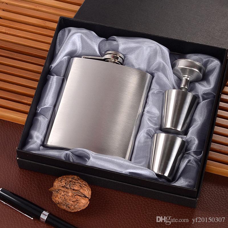 Frascos de cadera de acero inoxidable de 7 onzas con 2 vasos y embudo de vidrio de tiro en juego de cajas de regalo