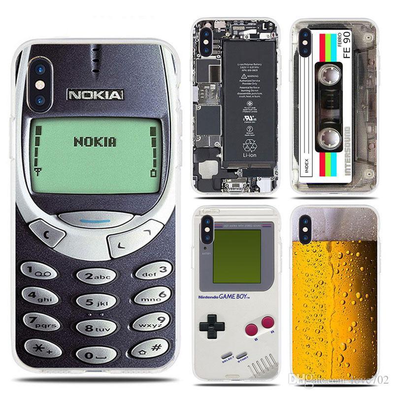 مضحك لينة حالة تبو لآيفون 7 8 زائد X 6 6S 5 5S SE البيرة Gameboy الهاتف البطارية واضح غطاء سيليكون ل iPhone XS ماكس XR
