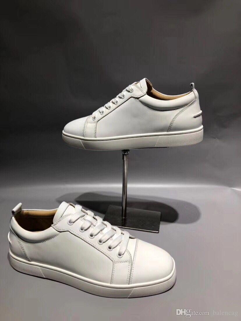 Vente en gros pas cher Marque Design Bas rouge Sneaker Low Cut Junior Chaussures Hommes Femmes Blanc Véritable Baskets En Cuir Chaussures Appartements