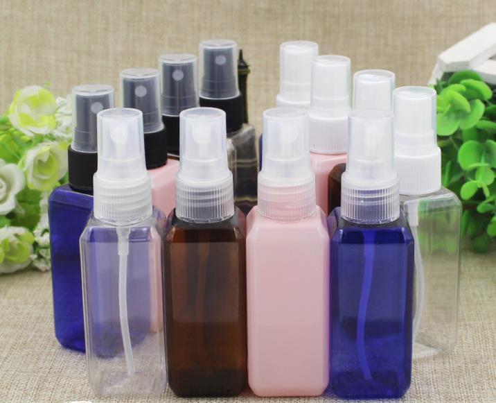 50ml Makyaj Parfüm Atomizer Kozmetik Plastik Kare Toner Sıvı Püskürtme Memesi İnce Mist Kozmetik Doldurulabilir Şişeler Şişe