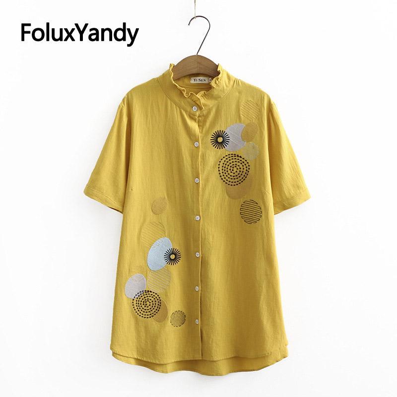Increspature del collare del basamento camicetta di estate delle donne Maglietta extrasize ricamo del cotone casuale manica corta camicetta KKFY4580