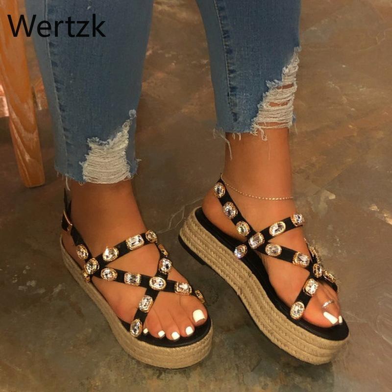Wertzk nuova piattaforma dei cunei dei sandali pattini delle donne dell'alto tacchi in cuoio Sandali estate 2019 Chaussures Femme B537
