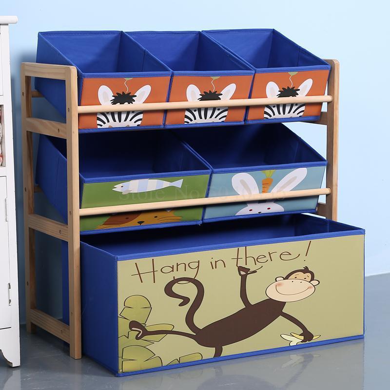 juguete de madera caja de juguetes rack de almacenamiento de cremallera de una pieza de acabado niño artefacto gabinete de almacenamiento en el hogar