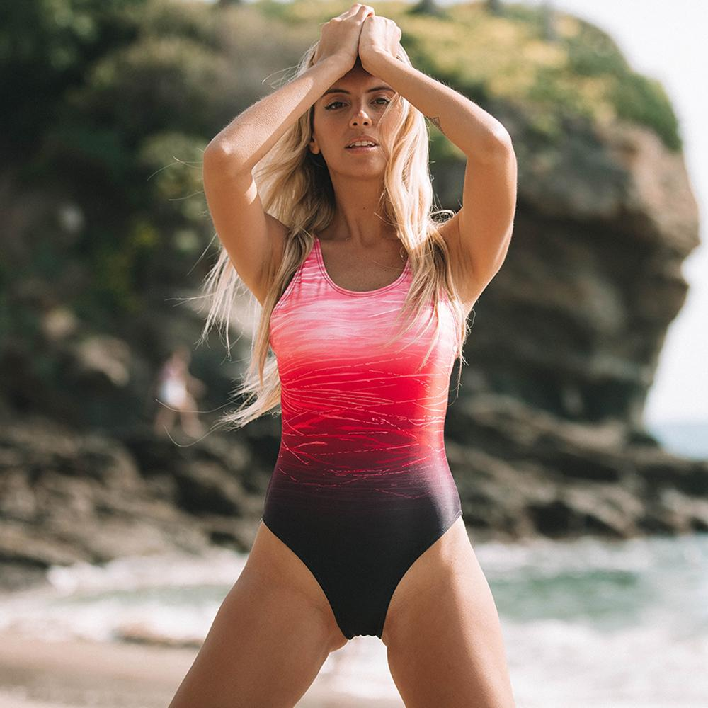 Wholesale Women Swimwear Sexy Gradient One Piece Swimsuits for Women Athletic Training Swimsuits Swimwear Bathing Suits for Lady
