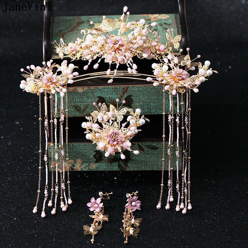 JaneVini Luxus Chinese Rosa Brautschmuck Kopfschmuck Antike Haarnadeln Ohrringe lange Quaste Brides Hochzeit Schmuck-Accessoires