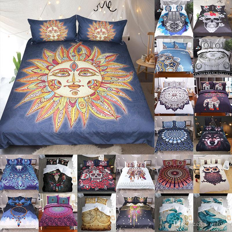 3D Printed Bedding Sets 3pcs/set Luxury Duvet Cover Pillowcases Home Bedding Supplies Christmas Decorative 40 Style Free DHL XD21461
