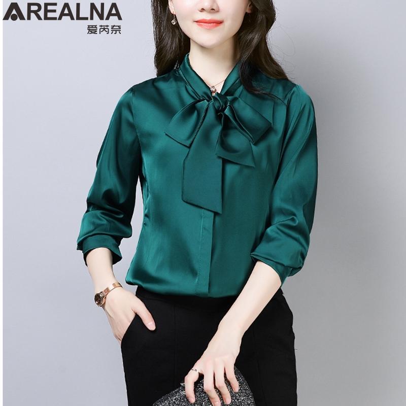 2020 Frühjahr aus Seide und Satin Bluse Frauen Langarm-eleganten Bogen Damen Büroabnutzungshemden weiße schwarze Kleidung grüner Mode Frauen