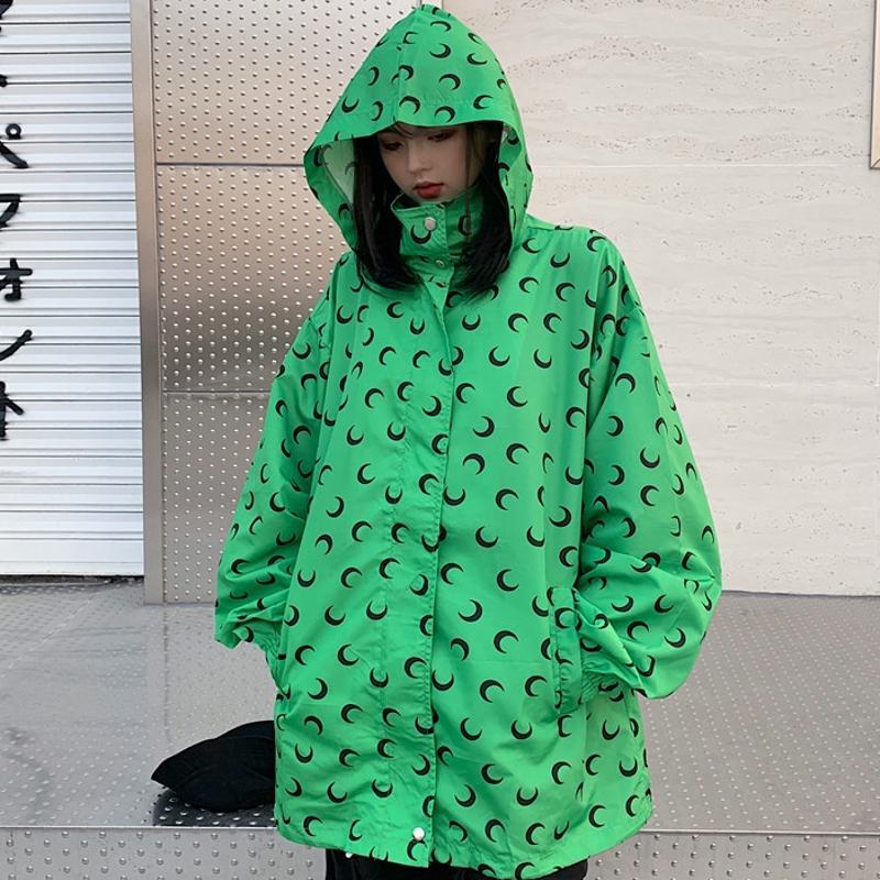 2019 New Fashion Women Coat Moon Print Lapel Zip Hooded Long Sleeve Drawstring Wind Breaker Casual Loose Coat for Female