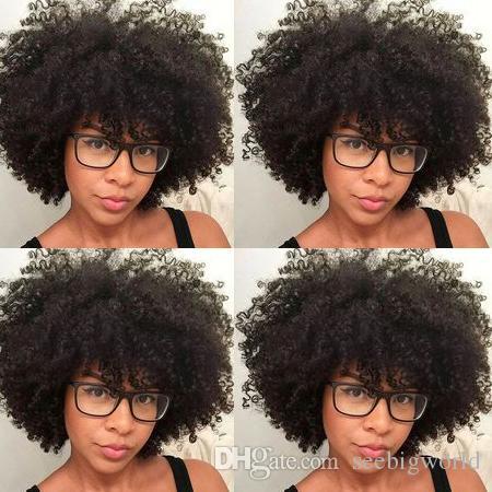 nuove donne di stile caschetto corto riccio crespo parrucca afro Americ capelli simulazione umani Capelli brasiliani parrucca riccia naturale con botto