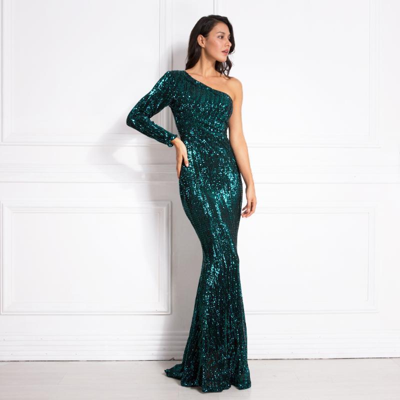Une épaule luxe Stretchy Silver Sequin nuit Party Robe moulante longueur au dos nu Tight Femme Robe de sirène