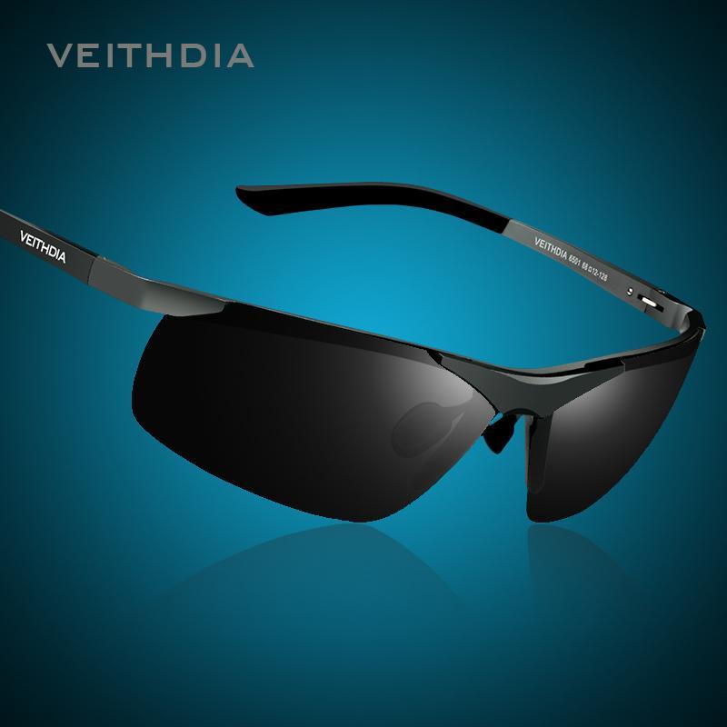 VEITHDIA Marke Alumunum Männer polarisierte UV400 Spiegel-Sonnenbrille Randlos Rechteck Herren Sonnenbrillen Brillen für Männer 6501 CX200704
